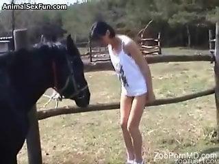 Skinny brunette worships a random horse's hot cock