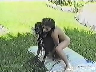 Dog and girl Outdoor Porn
