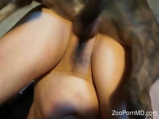 Meaty housewife getting fucked from behind by a dog
