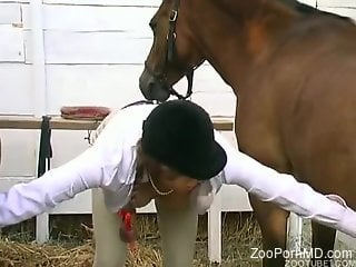 Leggy horse girl getting banged by a big-dicked beast