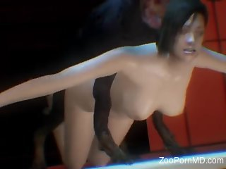 Resident Evil hottie gets fucked by a big-dicked dog
