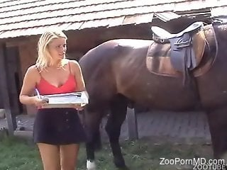 Blond-haired beauty with big boobs cums on horse cock